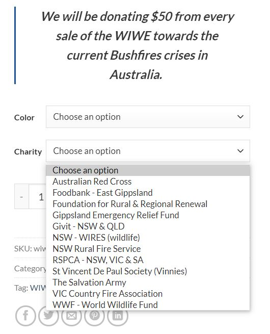 Charities you can choose to donate $50 to.